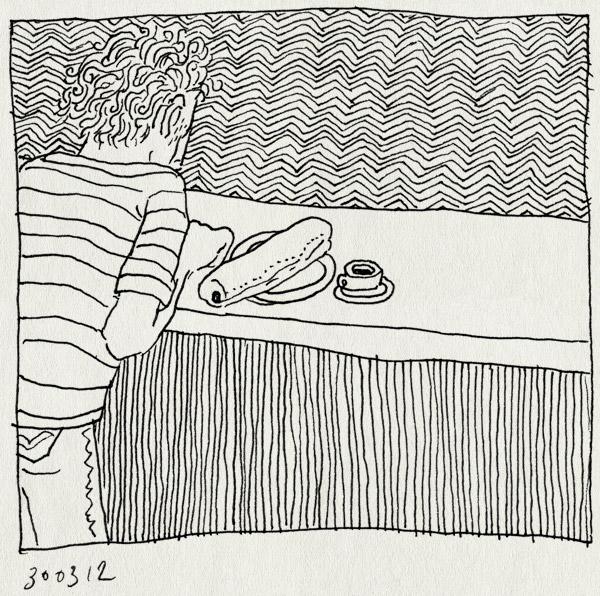 tekening 1771, alleen, broodje, cafe solo, lunch, ontbijt, rustig, sevilla