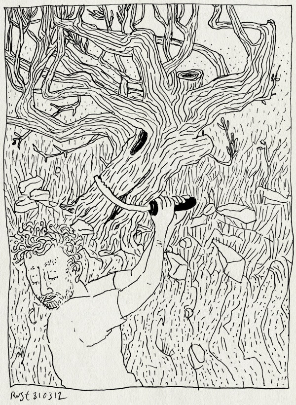 tekening 1772, berend, boom, la cenicera, olijfboom, snoeien, whoops, zagen