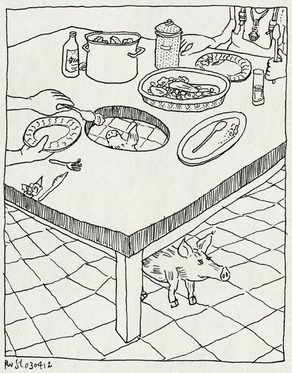 tekening 1775, berend, doggybag, eco, eten, gaaf, la cenicera, lacenicera, leftovers, mileuvriendelijk, niks verloren, spanje, vakens