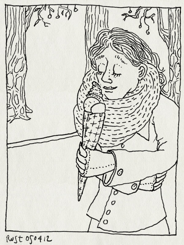 tekening 1777, ijsje, koud, lente, martine, mmm, pisa, sjaal, toch
