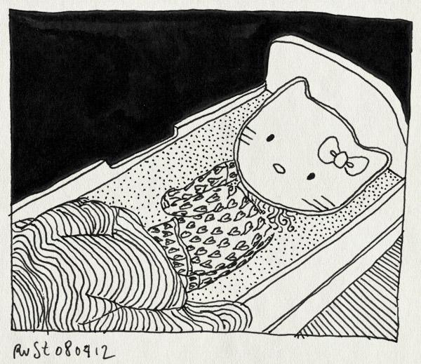 tekening 1780, alwine, bed, hello kitty, hoofd, kussen, slapen