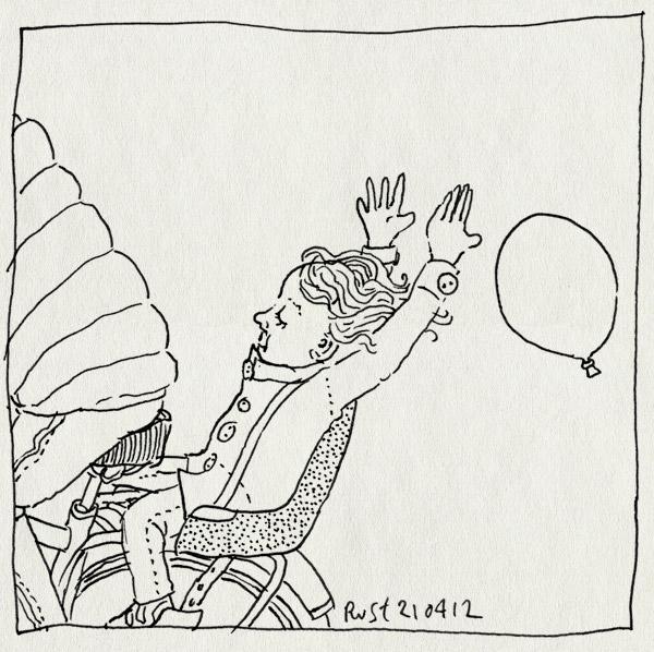 tekening 1793, achterop, alwine, ballon, fiets, fietsen, loslaten, oeps, wind, woei