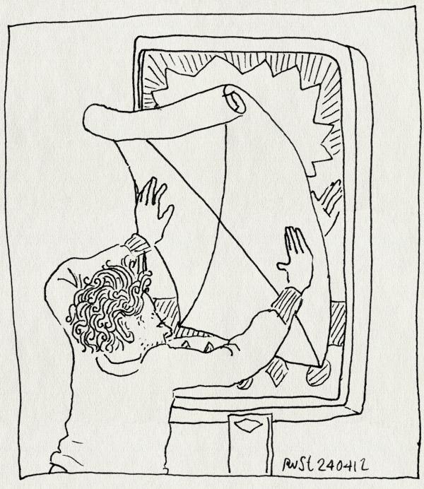 tekening 1796, affiche, bellevue, concept, dit is geen affiche, elkedagrust, kruis, plakken, werk
