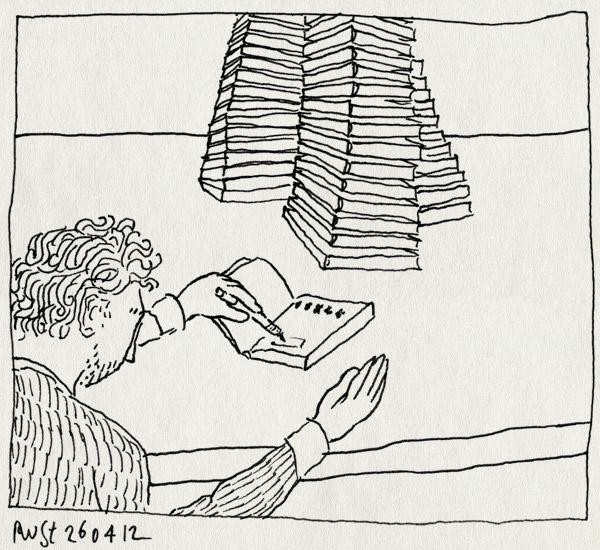 tekening 1798, boeken, nummeren, recensiekoning, recensiekoninginnenacht, stapels