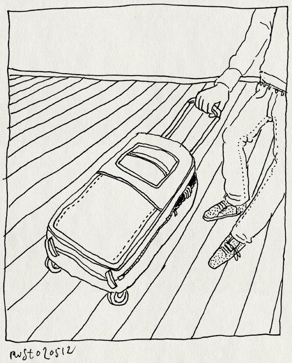 tekening 1804, alwine, handje, koffer, nieuw, tas, vakantie, verstoppen