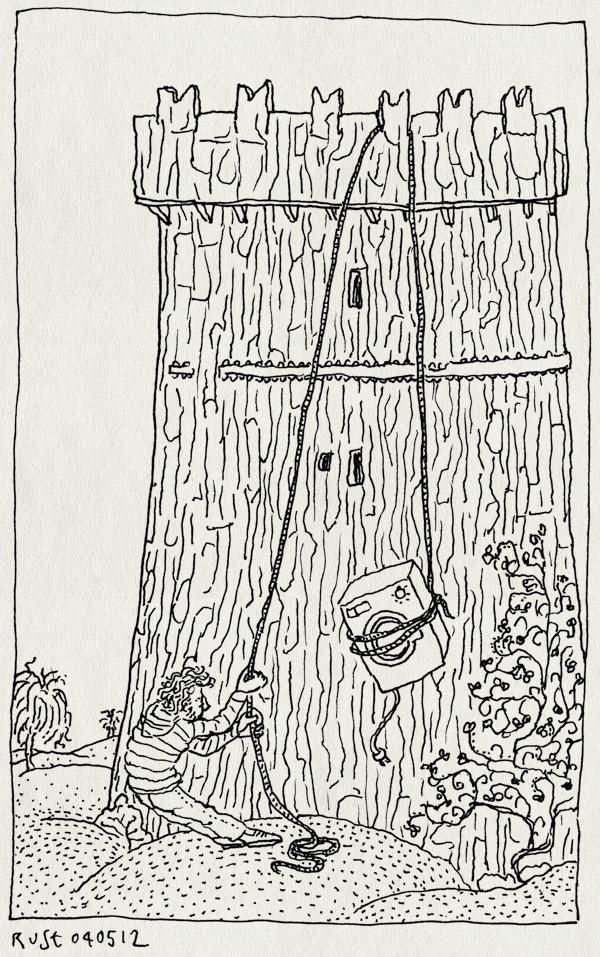 tekening 1806, blarney castle, cork, droger, ierland, ireland, kasteel, prachtig, takelen, toren, verhuizen, wasmachine