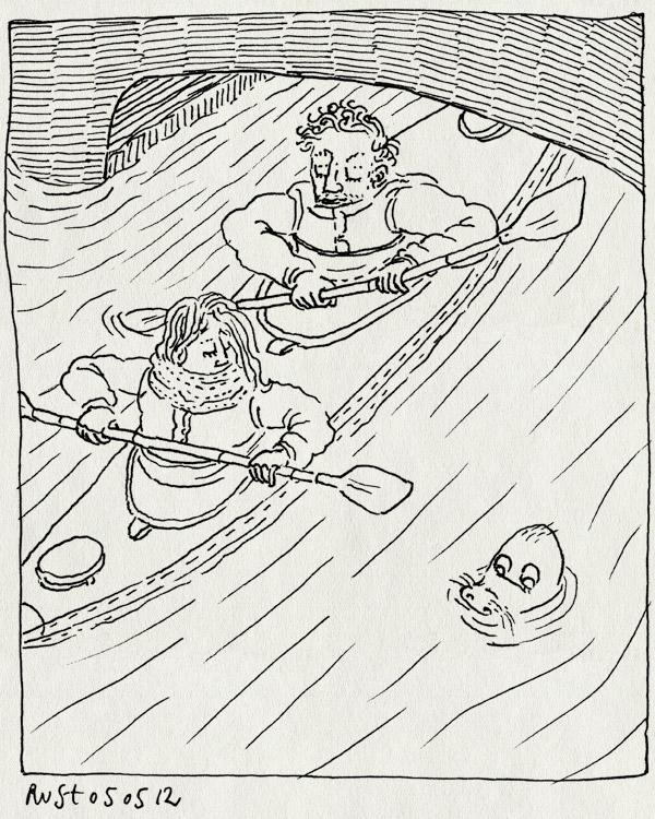 tekening 1807, brug, canal, cork, getijde, ierland, ireland, kajakken, kanoën, martine, rivier, rob, zee, zeehond, zeeleeuw