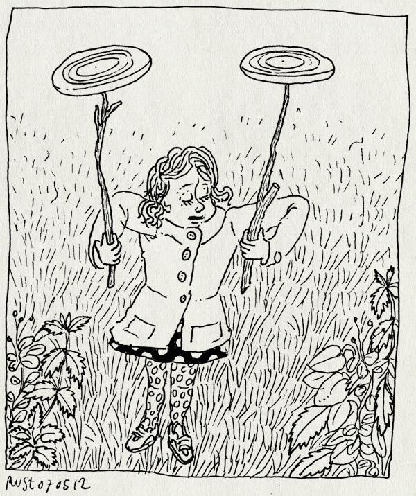 tekening 1809, acrobaat, alwine, borden, frisbee, frisbees, stokjes, thuis, zelf verzonnen