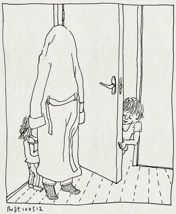 tekening 1811, alwine, badjas, deur, gaaf, kijken, lief, midas, verstoppen, verstoppertje, verstopplek, zelf