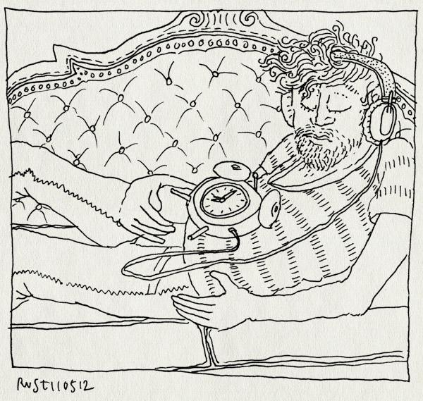 tekening 1813, bank, koptelefoon, powernap, slapen, wakker worden, wekker