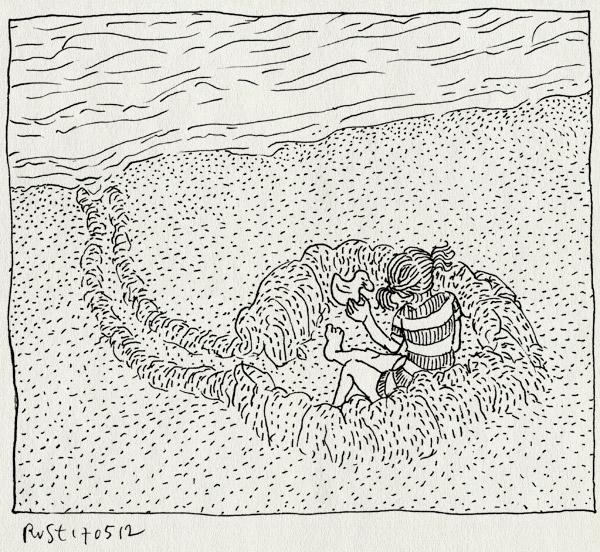tekening 1819, alwine, bad, eendje, getijde, klaar, klaarzitten, kuil, strand, zee