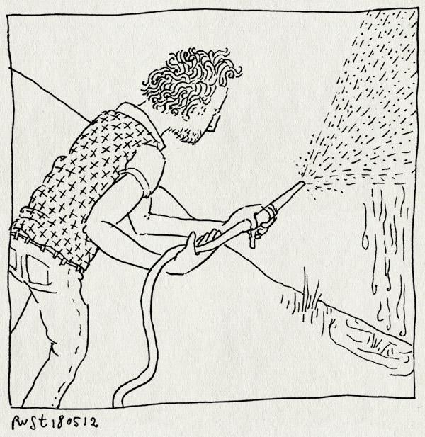 tekening 1820, muur, schoonspuiten, verf
