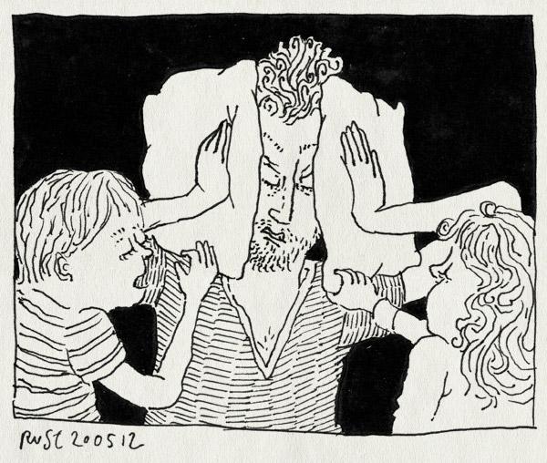 tekening 1822, alwine, geluid, geluidsoverlast, herhalen, kinderen, lawaai, midas, piepen, prikkels, rotdagje, vader, vragen, waaah, zeuren