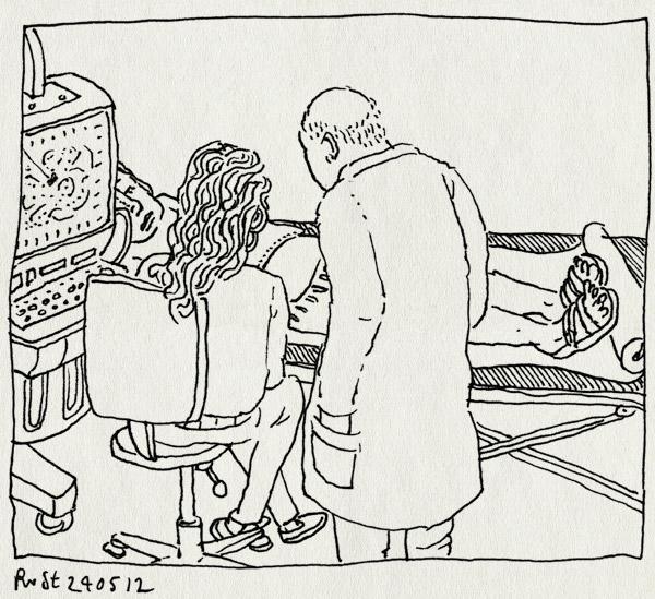 tekening 1826, aio, alkmaar, anneke, assistent, borstkanker, dokter, inspuiten, mama, mca, nucleair spul, scan, ziekenhuis
