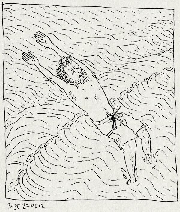 tekening 1829, achterover, branding, castricum, duiken, gek, golven, hoogspringen, oostewind, springen, strand