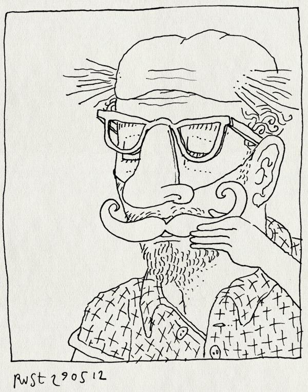 tekening 1831, bril, kaal, snor, vermomming, wie is het