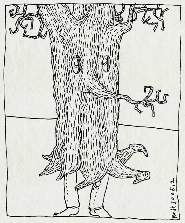 tekening 1832, boom, boomstam, bril, hout, houten bril, in, liefhebberij