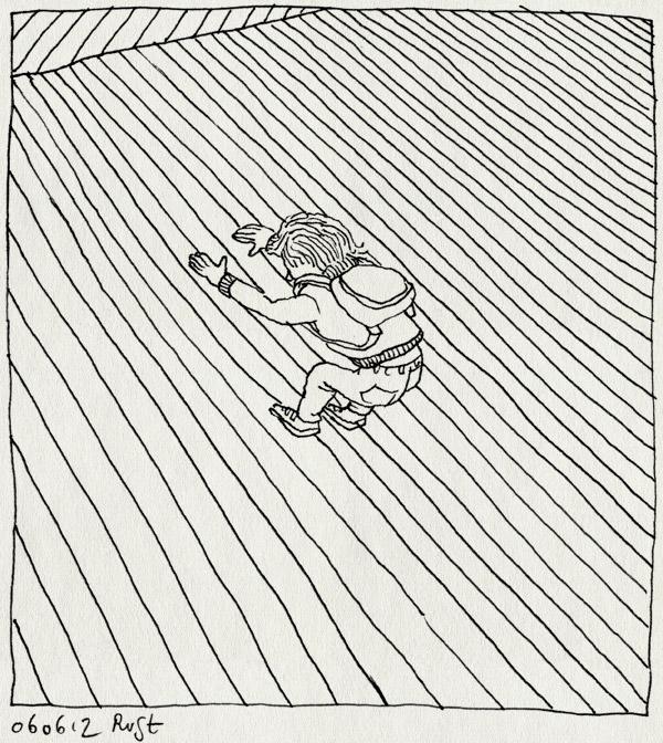 tekening 1839, avondvierdaagse, klimmen, midas, peer pressure, schooltas, schuin, tas, tasje, viaduct
