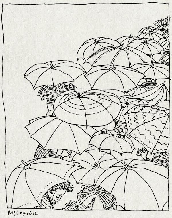 tekening 1840, avondvierdaagse, dag 4, midas, optocht, paraplu, regen, tocht