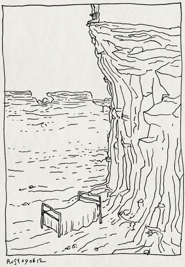 tekening 1842, bed, klif, rots