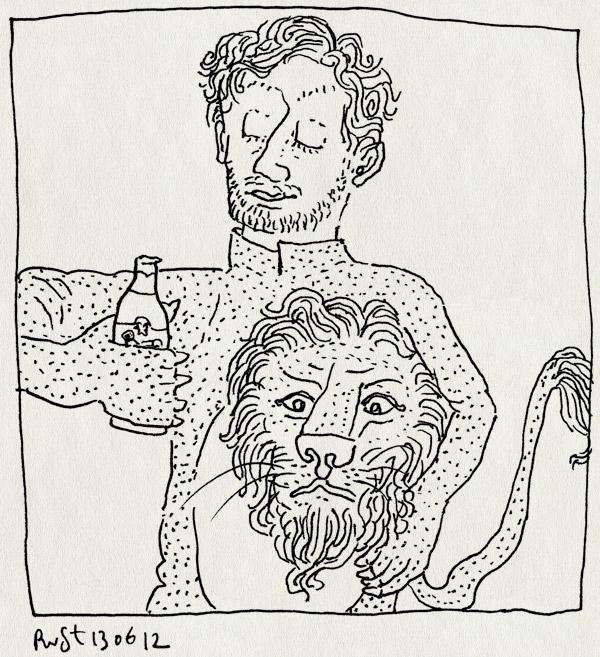 tekening 1846, 1-2, bier, ek2012, leeuw, leeuwenpak, neddui, nederland duitsland, onthoofd, oranje, verloren, wedstrijd