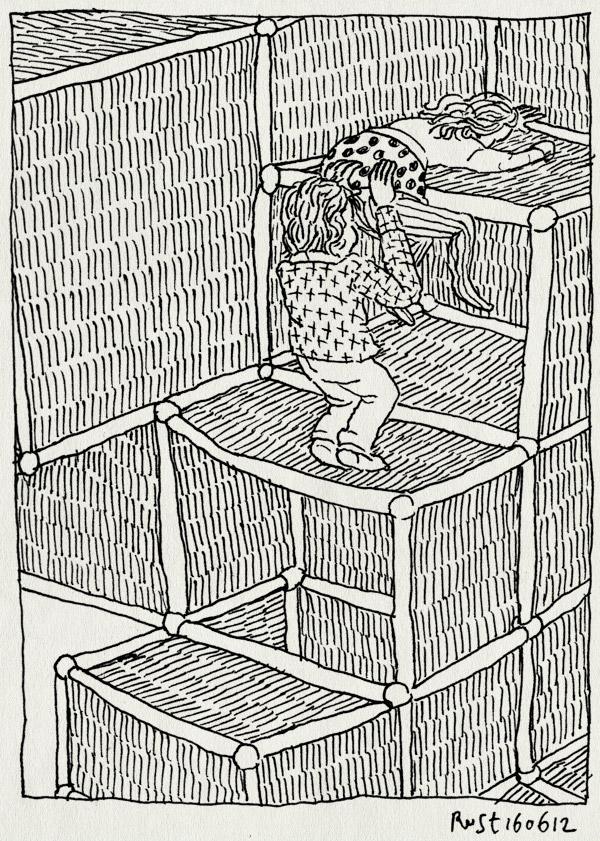 tekening 1849, alwine, ballenbak, ballorig, broer, helpen, indoor speelparadijs, klimmen, kontje, lief, midas, zusje