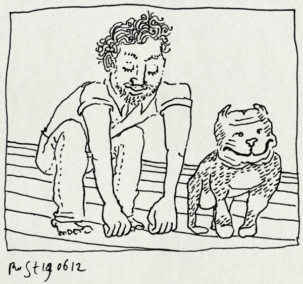 tekening 1852, hond, pitbull