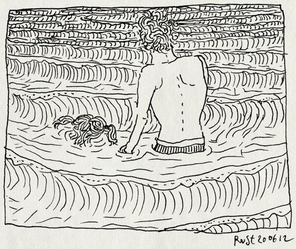 tekening 1853, alwine, bakkum, castricum, golven, kopje onder, strand, zee
