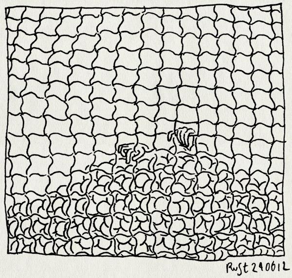 tekening 1857, ballenbak, gevangen, handen, hek, kooi, raster, tunfun