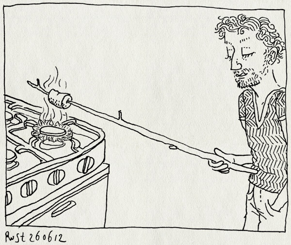 tekening 1859, barbecue, bbq, brand, dom, gasfornuis, maasstraat, marshmallow, rook, rookalarm, snijplank, stok, stom, vies
