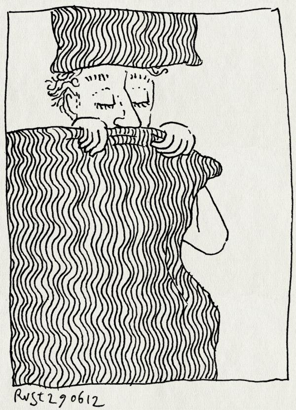 tekening 1862, bed, dekbed, golfjes, staan, staand
