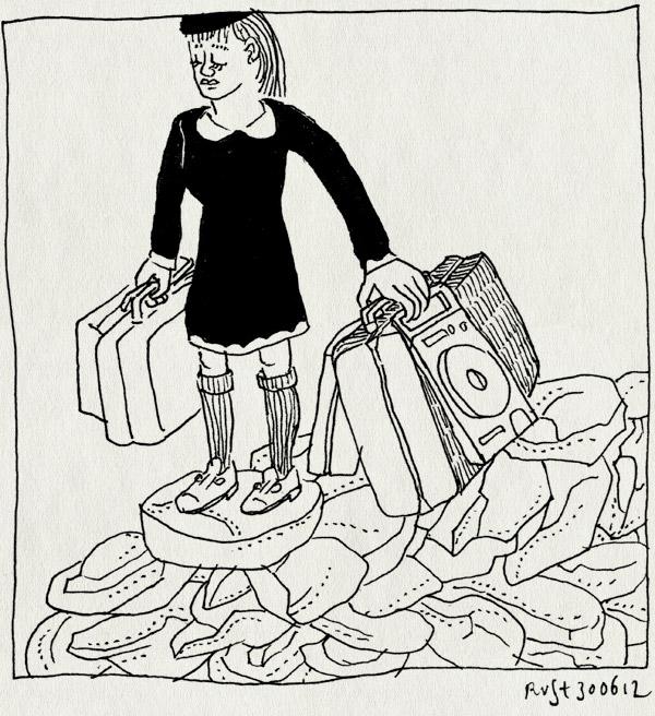tekening 1863, film, koffers, meisje, moonrise kingdom, reis, rotsen