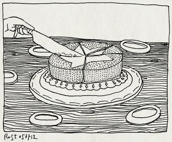 tekening 1868, amsterdam, reckon, revensiekoning, ster, taart, verdelen, waag
