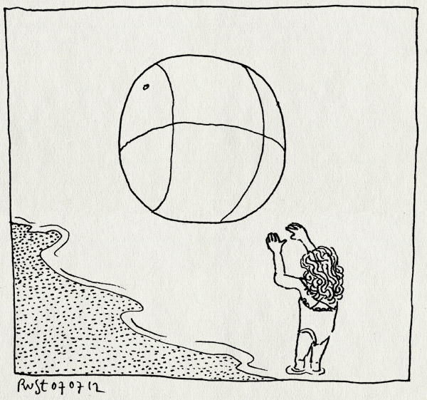 tekening 1870, alwine, bal, enorm, groot, IJmuiden, spelen, strand, zee