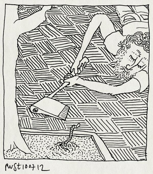 tekening 1873, bijl, boom, omhakken, worm, wormen