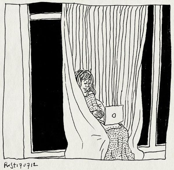 tekening 1880, afgeschermd, gordijn, huisjetoren, hut, kamertje, maasstraat, martine, thuis, werk