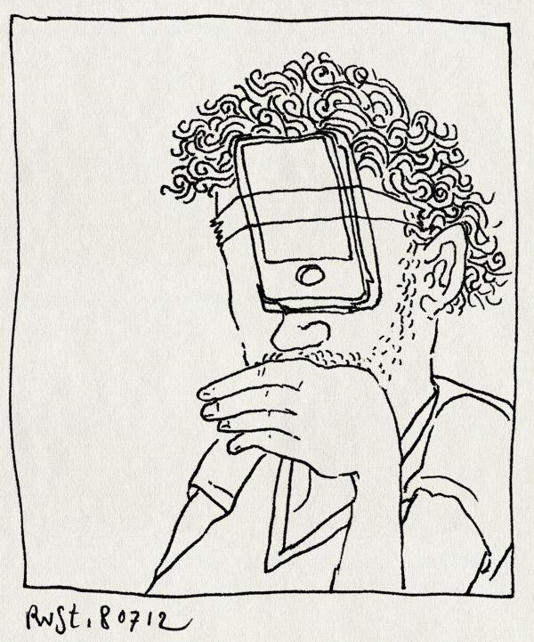tekening 1881, gedoe, hoofd, iphone, reckon, telefoon