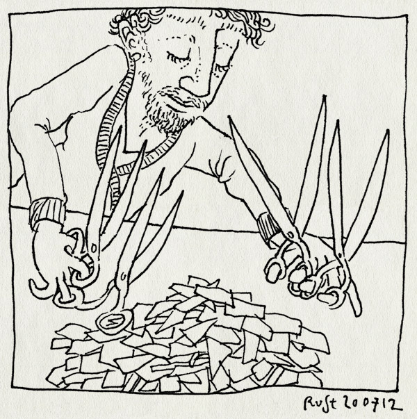 tekening 1883, edward scissorhands, knippen, knipsels, scharen, stukjes