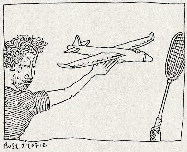 tekening 1885, badmintonracket, midas, park, spelen, vliegtuig