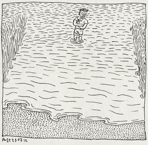 tekening 1886, naardermeer, ondiep, oud valkeveen, pootjebaden, riet, strand, water