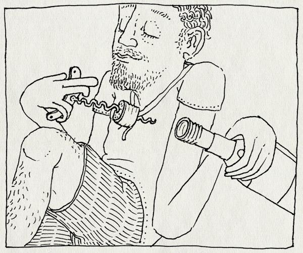 tekening 1887, draaidop, jona, korte broek, kurk, kurkentrekker, park, schroefdop, vondelpark, wijn