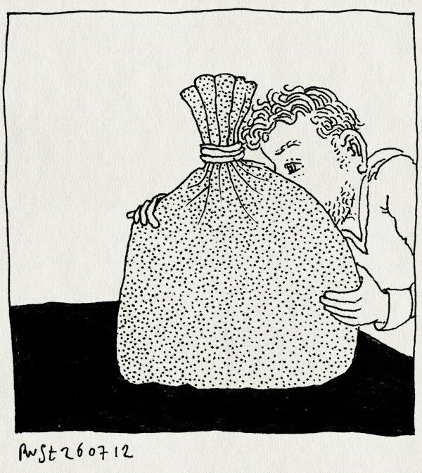 tekening 1889, belasting, geld, zak