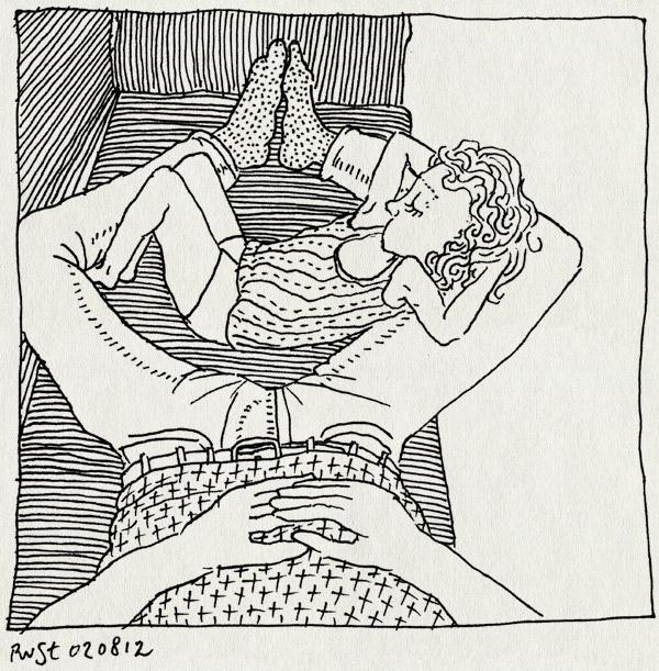 tekening 1896, alwine, alwines idee, bank, relaxed, thuis, zitten