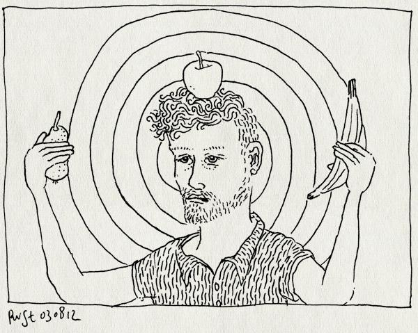 tekening 1897, appel, banaan, boogschieten, lelijk, peer, robin hood, schietschijf