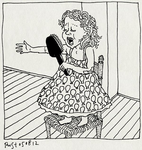 tekening 1899, alwine, borstel, haarborstel, optreden, stoel, zingen