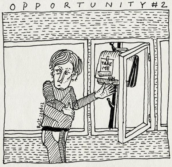 tekening 19, aktetas, gedachte, idee, opportunity, raam, stelen, stiekem, take me, tas, tekst