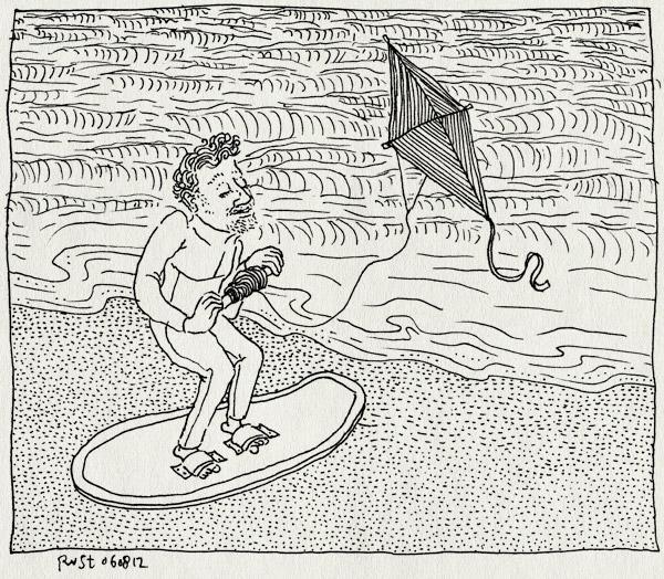 tekening 1900, board, kite, kitesurfen, strand, surfen, surfing, vlieger, zee