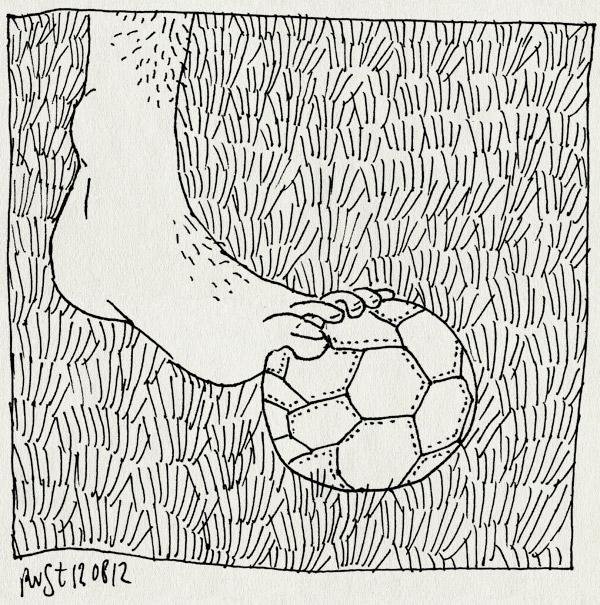 tekening 1906, klein, tenen, voelbal, voet, zomer