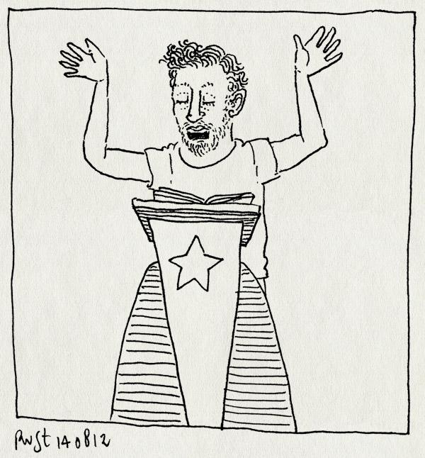 tekening 1908, kateder, oefenen, recensiekoning, spreekgestoelte, vincent, voorlezen