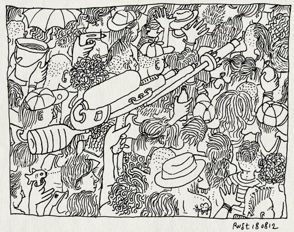 tekening 1912, druk, heet, ll12, lowlands, menigte, recensiekoning, recensiekoning recenseert lowlands, supersoaker, warm, watergevecht, waterpistolen, zaterdag, zomer